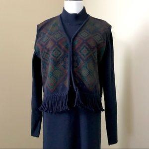 Vintage Navy Sweater Dress with Vest